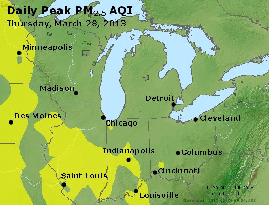 Peak Particles PM<sub>2.5</sub> (24-hour) - https://files.airnowtech.org/airnow/2013/20130328/peak_pm25_mi_in_oh.jpg
