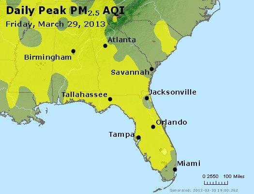 Peak Particles PM<sub>2.5</sub> (24-hour) - https://files.airnowtech.org/airnow/2013/20130329/peak_pm25_al_ga_fl.jpg