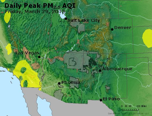 Peak Particles PM<sub>2.5</sub> (24-hour) - https://files.airnowtech.org/airnow/2013/20130329/peak_pm25_co_ut_az_nm.jpg