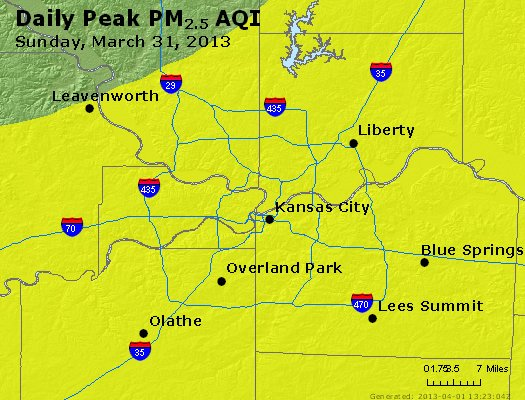 Peak Particles PM<sub>2.5</sub> (24-hour) - https://files.airnowtech.org/airnow/2013/20130331/peak_pm25_kansascity_mo.jpg