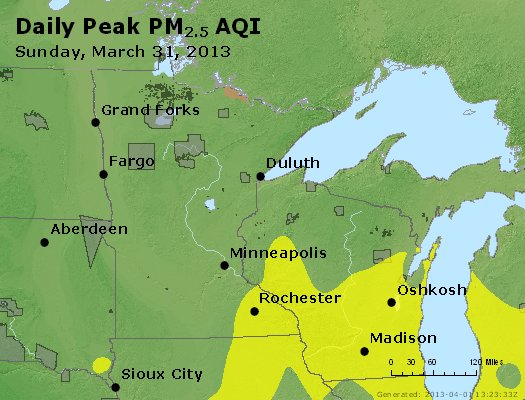 Peak Particles PM<sub>2.5</sub> (24-hour) - https://files.airnowtech.org/airnow/2013/20130331/peak_pm25_mn_wi.jpg