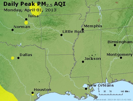 Peak Particles PM<sub>2.5</sub> (24-hour) - https://files.airnowtech.org/airnow/2013/20130401/peak_pm25_ar_la_ms.jpg