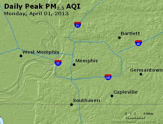 Peak Particles PM<sub>2.5</sub> (24-hour) - https://files.airnowtech.org/airnow/2013/20130401/peak_pm25_memphis_tn.jpg