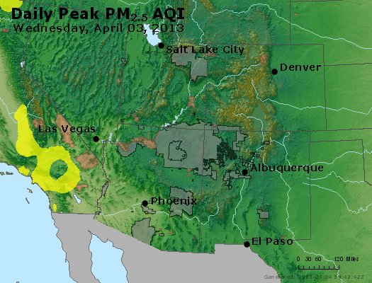 Peak Particles PM<sub>2.5</sub> (24-hour) - https://files.airnowtech.org/airnow/2013/20130403/peak_pm25_co_ut_az_nm.jpg