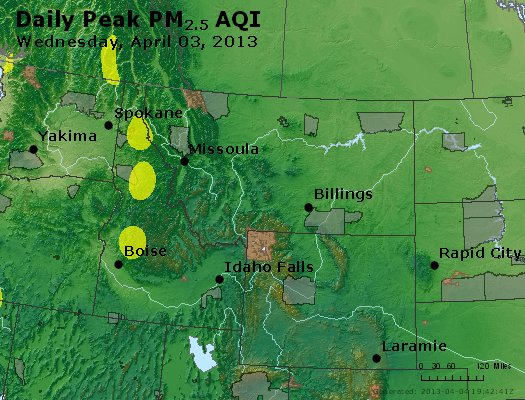 Peak Particles PM<sub>2.5</sub> (24-hour) - https://files.airnowtech.org/airnow/2013/20130403/peak_pm25_mt_id_wy.jpg