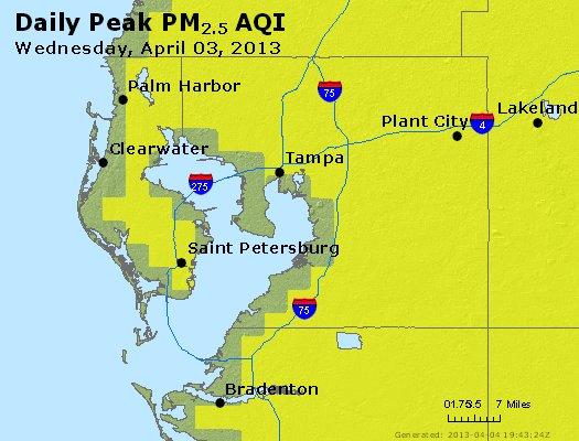 Peak Particles PM<sub>2.5</sub> (24-hour) - https://files.airnowtech.org/airnow/2013/20130403/peak_pm25_tampa_fl.jpg