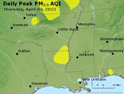 Peak Particles PM<sub>2.5</sub> (24-hour) - https://files.airnowtech.org/airnow/2013/20130404/peak_pm25_ar_la_ms.jpg
