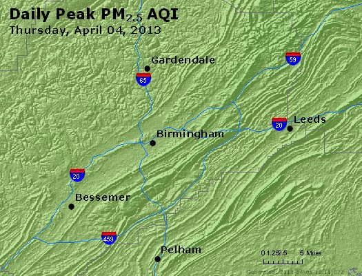 Peak Particles PM<sub>2.5</sub> (24-hour) - https://files.airnowtech.org/airnow/2013/20130404/peak_pm25_birmingham_al.jpg