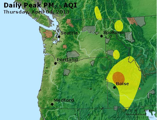 Peak Particles PM<sub>2.5</sub> (24-hour) - https://files.airnowtech.org/airnow/2013/20130404/peak_pm25_wa_or.jpg
