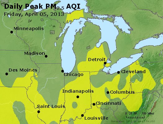 Peak Particles PM<sub>2.5</sub> (24-hour) - https://files.airnowtech.org/airnow/2013/20130405/peak_pm25_mi_in_oh.jpg