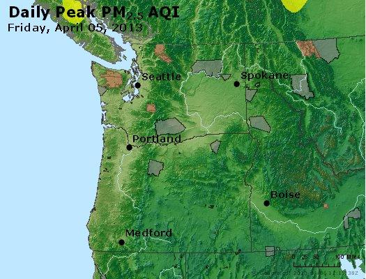 Peak Particles PM<sub>2.5</sub> (24-hour) - https://files.airnowtech.org/airnow/2013/20130405/peak_pm25_wa_or.jpg