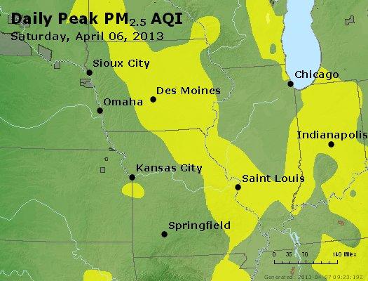 Peak Particles PM<sub>2.5</sub> (24-hour) - https://files.airnowtech.org/airnow/2013/20130406/peak_pm25_ia_il_mo.jpg