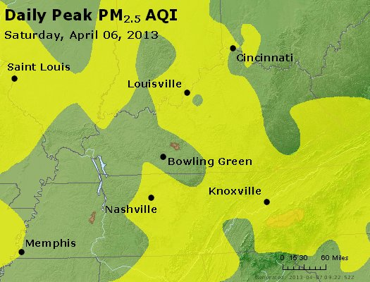 Peak Particles PM<sub>2.5</sub> (24-hour) - https://files.airnowtech.org/airnow/2013/20130406/peak_pm25_ky_tn.jpg