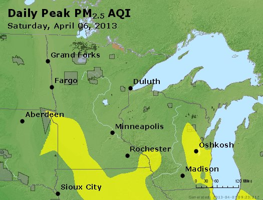 Peak Particles PM2.5 (24-hour) - https://files.airnowtech.org/airnow/2013/20130406/peak_pm25_mn_wi.jpg