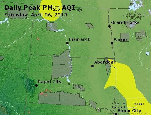 Peak Particles PM2.5 (24-hour) - https://files.airnowtech.org/airnow/2013/20130406/peak_pm25_nd_sd.jpg