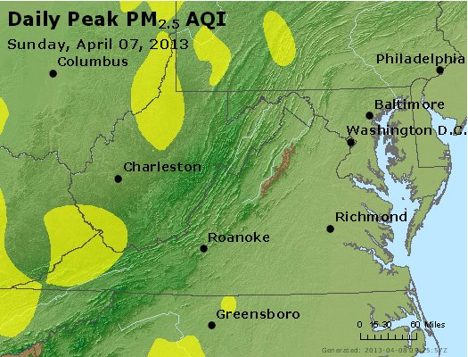 Peak Particles PM<sub>2.5</sub> (24-hour) - https://files.airnowtech.org/airnow/2013/20130407/peak_pm25_va_wv_md_de_dc.jpg