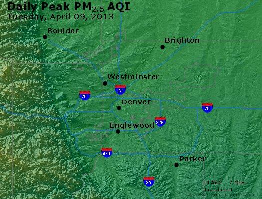 Peak Particles PM<sub>2.5</sub> (24-hour) - https://files.airnowtech.org/airnow/2013/20130409/peak_pm25_denver_co.jpg