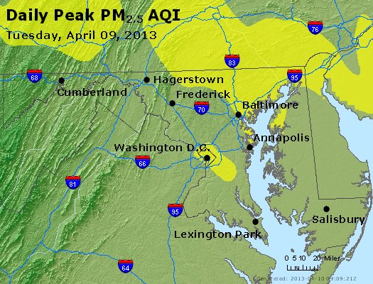 Peak Particles PM<sub>2.5</sub> (24-hour) - https://files.airnowtech.org/airnow/2013/20130409/peak_pm25_maryland.jpg