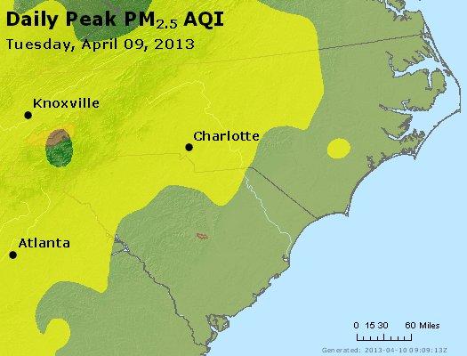 Peak Particles PM2.5 (24-hour) - https://files.airnowtech.org/airnow/2013/20130409/peak_pm25_nc_sc.jpg