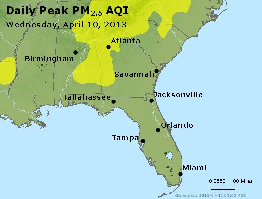 Peak Particles PM<sub>2.5</sub> (24-hour) - https://files.airnowtech.org/airnow/2013/20130410/peak_pm25_al_ga_fl.jpg