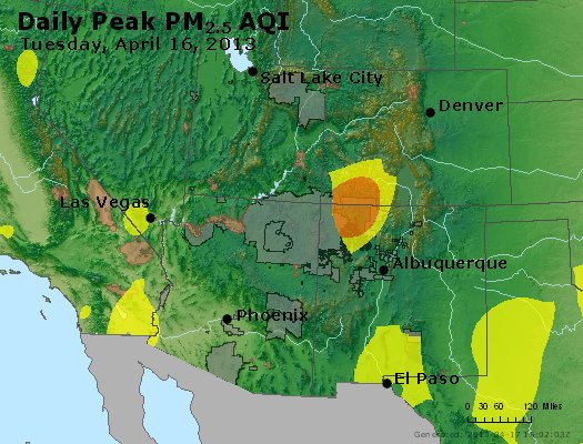 Peak Particles PM<sub>2.5</sub> (24-hour) - https://files.airnowtech.org/airnow/2013/20130416/peak_pm25_co_ut_az_nm.jpg