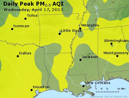 Peak Particles PM<sub>2.5</sub> (24-hour) - https://files.airnowtech.org/airnow/2013/20130417/peak_pm25_ar_la_ms.jpg