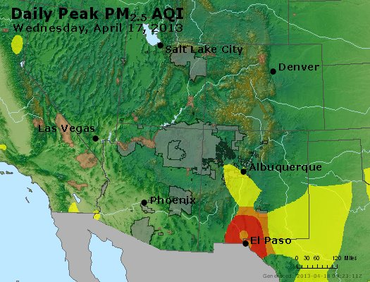 Peak Particles PM<sub>2.5</sub> (24-hour) - https://files.airnowtech.org/airnow/2013/20130417/peak_pm25_co_ut_az_nm.jpg