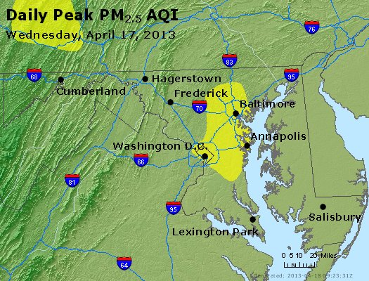 Peak Particles PM<sub>2.5</sub> (24-hour) - https://files.airnowtech.org/airnow/2013/20130417/peak_pm25_maryland.jpg