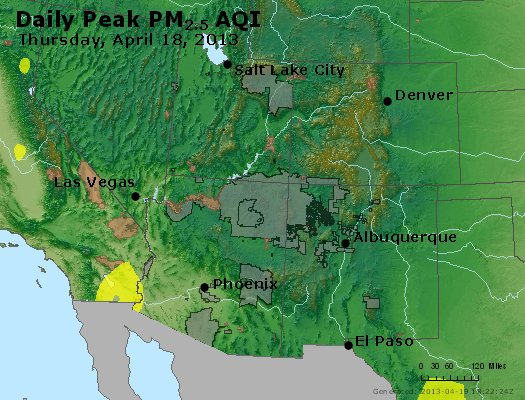 Peak Particles PM<sub>2.5</sub> (24-hour) - https://files.airnowtech.org/airnow/2013/20130418/peak_pm25_co_ut_az_nm.jpg