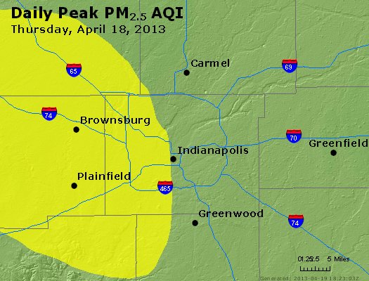 Peak Particles PM<sub>2.5</sub> (24-hour) - https://files.airnowtech.org/airnow/2013/20130418/peak_pm25_indianapolis_in.jpg