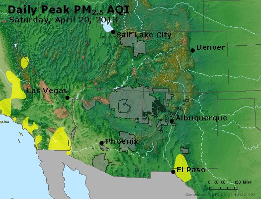 Peak Particles PM<sub>2.5</sub> (24-hour) - https://files.airnowtech.org/airnow/2013/20130420/peak_pm25_co_ut_az_nm.jpg