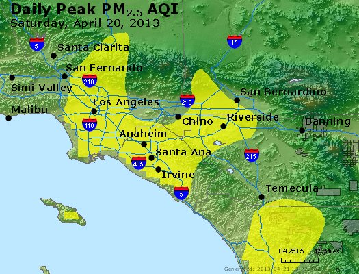Peak Particles PM<sub>2.5</sub> (24-hour) - https://files.airnowtech.org/airnow/2013/20130420/peak_pm25_losangeles_ca.jpg