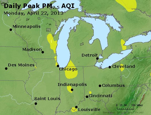 Peak Particles PM<sub>2.5</sub> (24-hour) - https://files.airnowtech.org/airnow/2013/20130422/peak_pm25_mi_in_oh.jpg