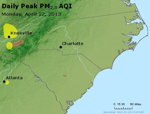 Peak Particles PM2.5 (24-hour) - https://files.airnowtech.org/airnow/2013/20130422/peak_pm25_nc_sc.jpg