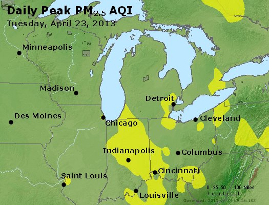 Peak Particles PM<sub>2.5</sub> (24-hour) - https://files.airnowtech.org/airnow/2013/20130423/peak_pm25_mi_in_oh.jpg