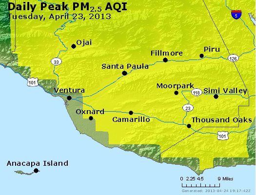 Peak Particles PM<sub>2.5</sub> (24-hour) - https://files.airnowtech.org/airnow/2013/20130423/peak_pm25_ventura.jpg