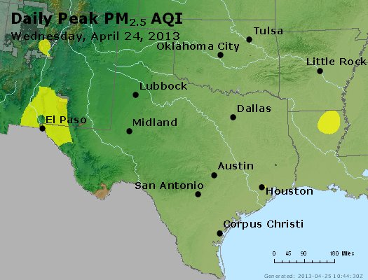 Peak Particles PM<sub>2.5</sub> (24-hour) - https://files.airnowtech.org/airnow/2013/20130424/peak_pm25_tx_ok.jpg