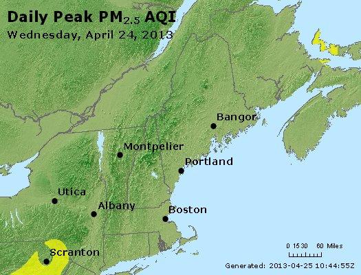 Peak Particles PM<sub>2.5</sub> (24-hour) - https://files.airnowtech.org/airnow/2013/20130424/peak_pm25_vt_nh_ma_ct_ri_me.jpg