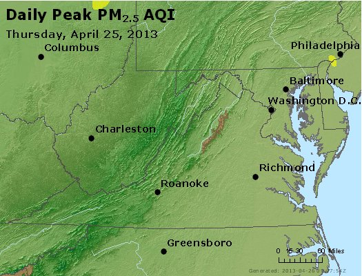 Peak Particles PM<sub>2.5</sub> (24-hour) - https://files.airnowtech.org/airnow/2013/20130425/peak_pm25_va_wv_md_de_dc.jpg