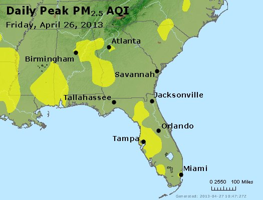 Peak Particles PM<sub>2.5</sub> (24-hour) - https://files.airnowtech.org/airnow/2013/20130426/peak_pm25_al_ga_fl.jpg
