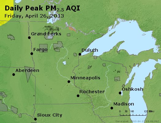 Peak Particles PM<sub>2.5</sub> (24-hour) - https://files.airnowtech.org/airnow/2013/20130426/peak_pm25_mn_wi.jpg