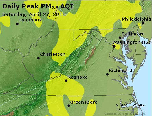 Peak Particles PM<sub>2.5</sub> (24-hour) - https://files.airnowtech.org/airnow/2013/20130427/peak_pm25_va_wv_md_de_dc.jpg