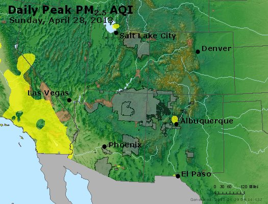 Peak Particles PM<sub>2.5</sub> (24-hour) - https://files.airnowtech.org/airnow/2013/20130428/peak_pm25_co_ut_az_nm.jpg