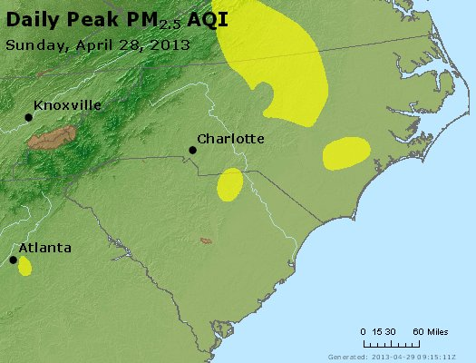 Peak Particles PM2.5 (24-hour) - https://files.airnowtech.org/airnow/2013/20130428/peak_pm25_nc_sc.jpg