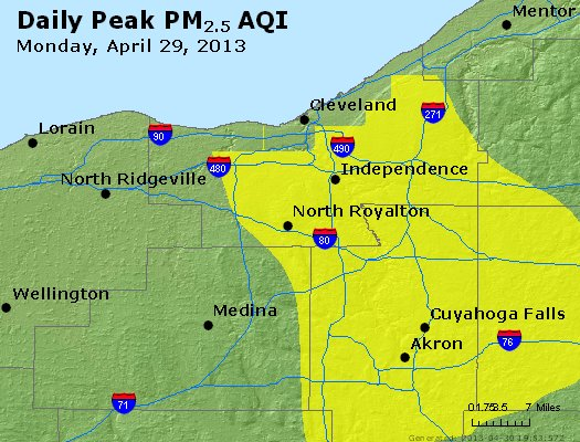 Peak Particles PM<sub>2.5</sub> (24-hour) - https://files.airnowtech.org/airnow/2013/20130429/peak_pm25_cleveland_oh.jpg