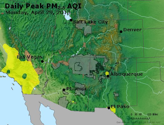 Peak Particles PM<sub>2.5</sub> (24-hour) - https://files.airnowtech.org/airnow/2013/20130429/peak_pm25_co_ut_az_nm.jpg