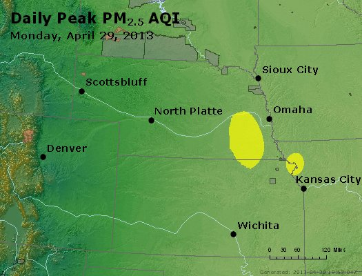 Peak Particles PM<sub>2.5</sub> (24-hour) - https://files.airnowtech.org/airnow/2013/20130429/peak_pm25_ne_ks.jpg