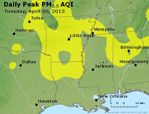 Peak Particles PM<sub>2.5</sub> (24-hour) - https://files.airnowtech.org/airnow/2013/20130430/peak_pm25_ar_la_ms.jpg