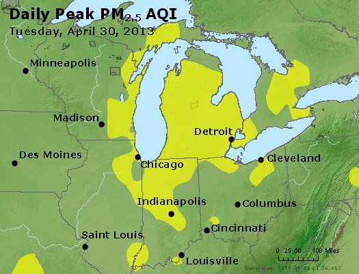 Peak Particles PM<sub>2.5</sub> (24-hour) - https://files.airnowtech.org/airnow/2013/20130430/peak_pm25_mi_in_oh.jpg