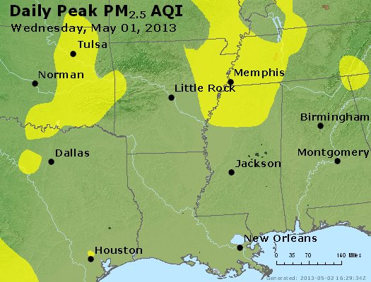 Peak Particles PM<sub>2.5</sub> (24-hour) - https://files.airnowtech.org/airnow/2013/20130501/peak_pm25_ar_la_ms.jpg